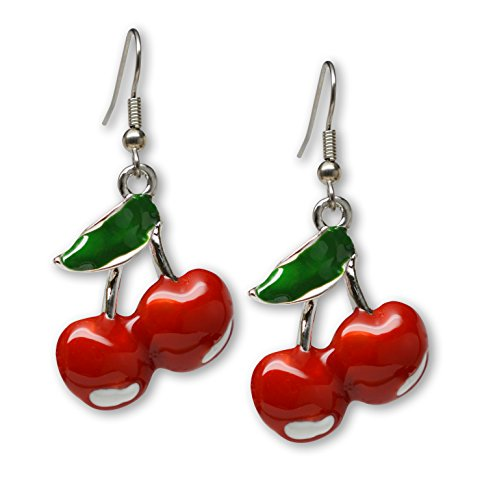 Classic Retro Red Cherries and Green Leaf Pewter Dangle Earrings ()