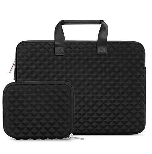 (MOSISO Laptop Sleeve Compatible 13-13.3 Inch MacBook Pro, MacBook Air, Notebook Computer, Shock Resistant Diamond Foam Water Repellent Neoprene Carrying Briefcase Handbag Case Cover Bag, Black)