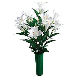 "OakRidge Easter Lily Memorial Bouquet Silk Floral Indoor/Outdoor Décor, 23"" High 79"