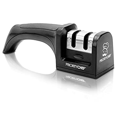PriorityChef Knife Sharpener, 2 Stage Sharpening System for Knives, Black
