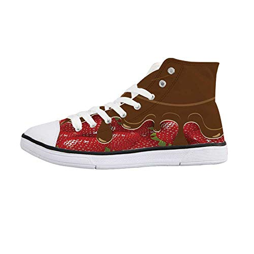 Kitchen Art Wall Decor Stylish High Top Canvas Shoes,Strawberries Melted Chocolate Confectionery Fruit Sweet Delicacies for Men & Boys,US Size 9
