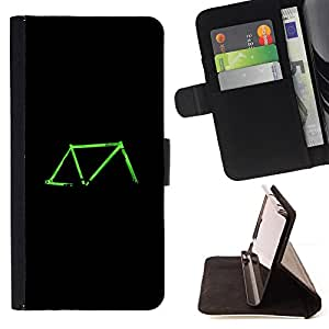 For LG G2 D800 Bicycle Neon Green Black Retro Ride Leather Foilo Wallet Cover Case with Magnetic Closure