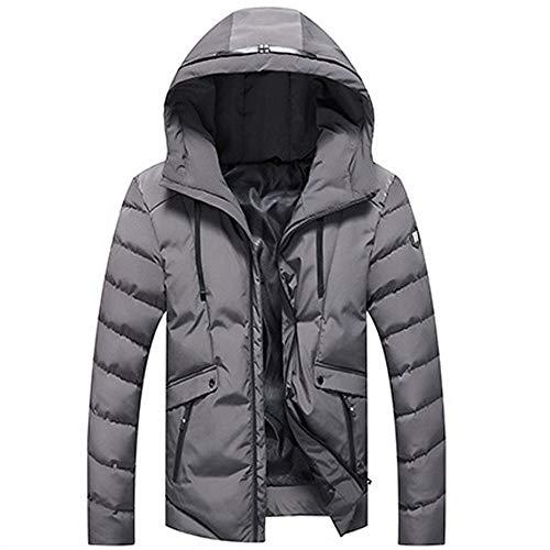 Clearance! Sunfei Men Winter Warm Padded Coat Hoodie Hooded Zip Slim Jacket Outwear Wind Coat Down jacket (Gray, Large)