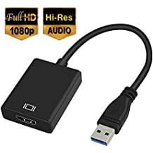 USB 3.0 to HDMI HD 1080P Video Cable Adapter with Audio Output Multiple Monitors for Laptop HDTV TV PC with Windows XP / 10 / 8.1 / 8 / 7 [ NO MAC & VISTA ]