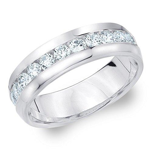 1ct Classic Men's Diamond Ring in 14K White Gold, 1.0 cttw Wedding Anniversary Ring for Men - Finger Size 11