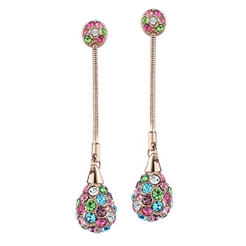 Neoglory Alloy Colorful Water Drop Earrings with Crystal, Christmas Gift