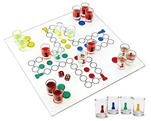 - Matty's Toy Stop Ludo Drinking Game (Parcheesi) with 16 Shot Glasses, 2 Dice & Glass Game Board