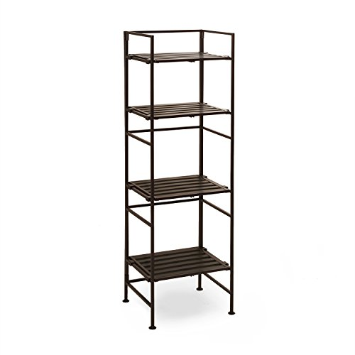 Seville Classics 4-Tier Resin Slat Square Tower Shelving, Espresso (Metal Kitchen Rack)