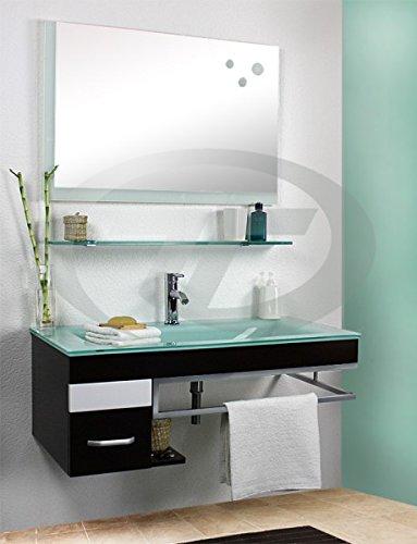 Badkombination Zaragossa Glaswaschtisch Pushup Softclose Plywoodholz TM-80211