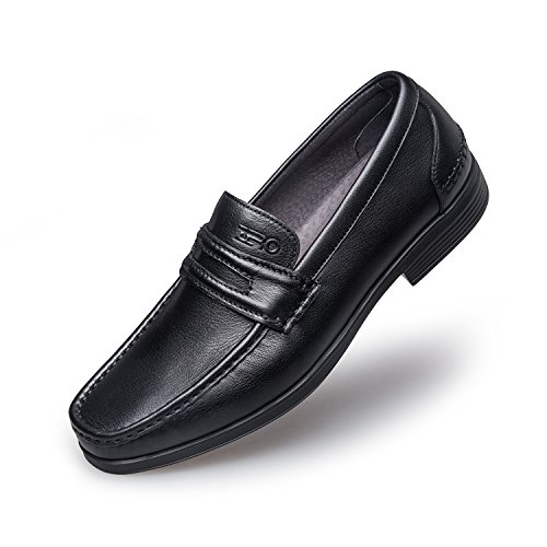 Zro Mens Moderne Prep Penny Loafer Casual Slip-on Noir