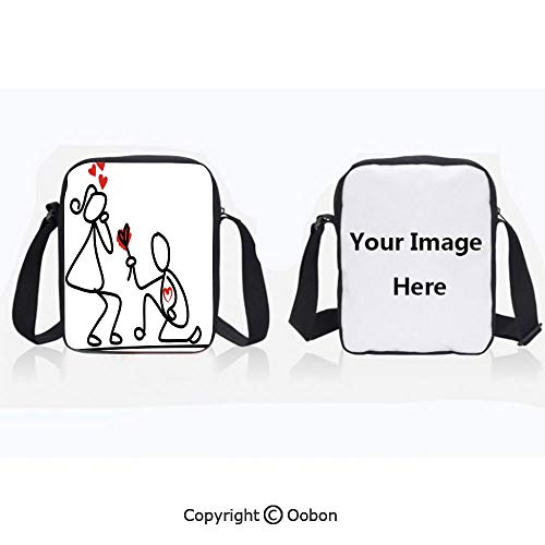 Polyester Anti-Theft Cross-Body Bag Unisex Adult Hand Drawn Kidergarten Themed Wedding Proposal Image Black White and Red Zipper Bucket Anti Theft Bag For Journey