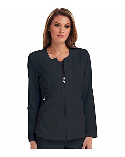 Careisma By Sofia Vergara Women's Angelina Zip-Up Solid Scrub Jacket Small Pewter