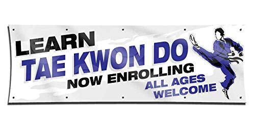Learn TAE Kwon DO (3ft X 9ft) Banner Enroll Sign Martial Arts School Academy Display Registration Poster