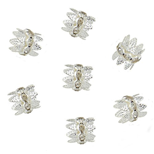 10 Silver Plated Filigree - 30PCS 10mm Silver Plated Double Beads Caps With Rhinestone Filigree Flower Cup for Jewelry Making DIY (HT-1000-1)