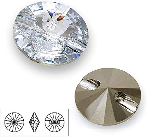 1xSwarovski ® 14mm Black Diamond Round Button 3015