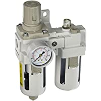 PneumaticPlus SAU4010M-N04BG Two Piece Filter Regulator Lubricator Combination 1/2 NPT - Manual Drain, Poly Bowl, 10 Micron with Gauge