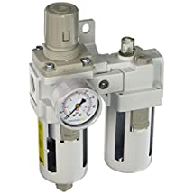 "PneumaticPlus SAU4010M-N04BG Two Piece Filter Regulator Lubricator Combination 1/2"" NPT - Manual Drain, Poly Bowl, 10 Micron with Gauge"