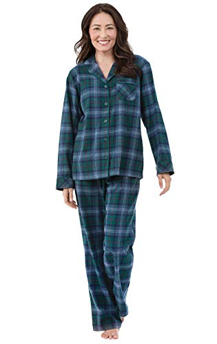 PajamaGram Women Pajamas Set Flannel - Classic Plaid PJs Women, Green, M, 8-10