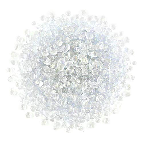 - Hilitchi Shining Under Sunshine Clear Glass Stones Non-Toxic Smooth Vase Filler, Table Scatter, Aquarium Fillers, Gems Displaying, Gem Glass Confetti [White Rainbow Moonstone Aprox. 1lb(455g)/Bag]