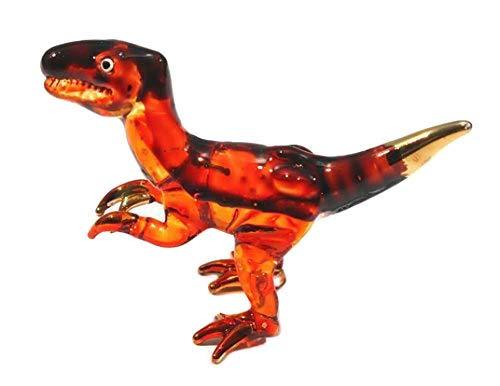 (Handmade Mini Tyrannosaurus (T-Rex) Art Glass Blown Jurassic Dinosaur)