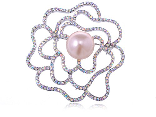Alilang Silvery Tone Aurora Borealis Rhinestone Flower Rose Stencil Faux Pearl Pin Brooch