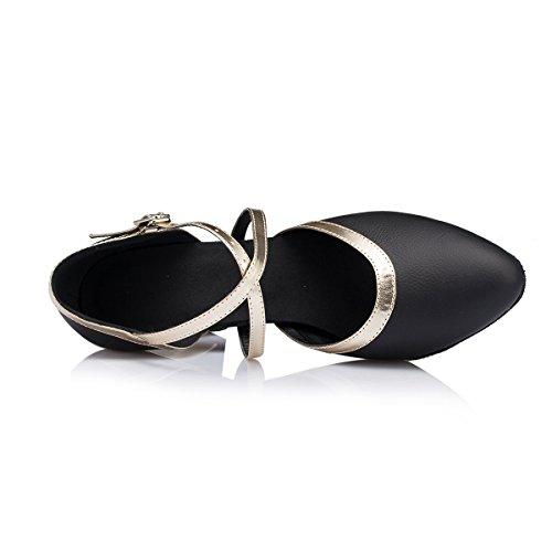 Miyoopark - salón mujer Black/Gold-7cm Heel