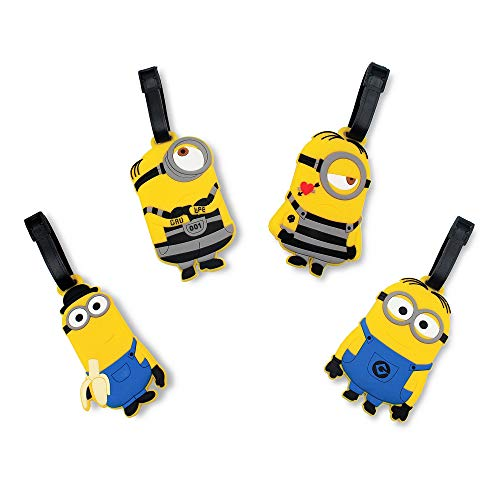 Finex Set of 4 - The Minions Travel Luggage Tags Bag Tag with Adjustable Strap Yellow Despicable Me