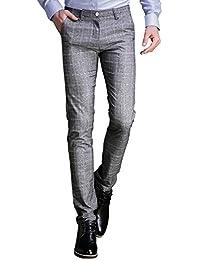 Mens Plaid Dress Pants, Wrinkle-free Stretch Slim Fit Elastic Suit Pants Trousers