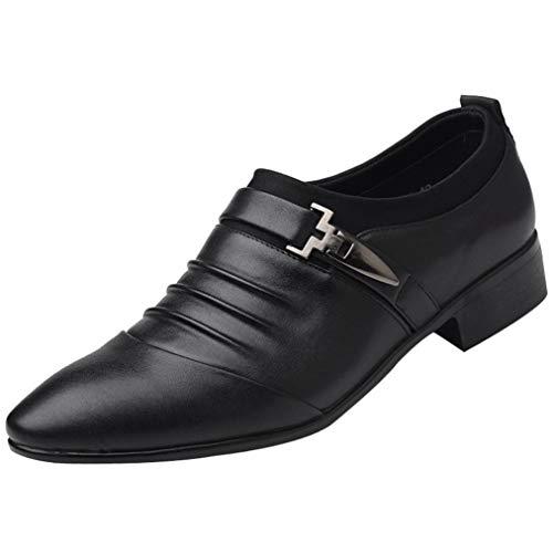 Limsea 2018 New British Fashion Men's Leather Pointed Toe FOrangemal Wedding Shoes (Black,9.5)