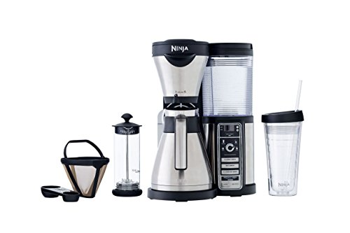 Ninja Coffee Maker for Hot/Iced Coffee with 4 Brew Sizes, Programmable Auto-iQ, Milk Frother, 43oz Stainless Carafe, Tumbler and 100 Recipes (CF085Z)