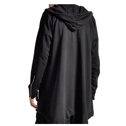 Leisure Jacket,Men Long Hooded Cardigan Draw String Cloak Coat Blouse Mantle (2XL, Black)