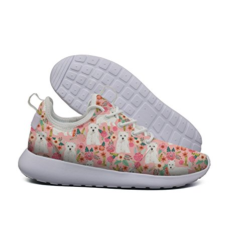 pink vintage Westie dog Floral lightweight running shoes women Outdoor quick dry by Euixo