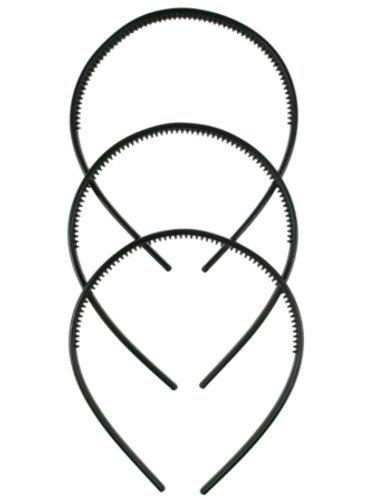 Pritties Accessories Haarreif-Set, aus Kunststoff, 1cm breit, Schwarz, 3Stück