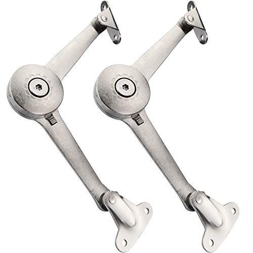 Douper Lid Support Hinge in Satin Nickel Lid Stay with Soft Close Toy Box Hinge Support Drop Lids of Cabinets Cupboard Wardrobe Max Weight Support 40lb/2pcs (2 Pack) (Hinge Under Cabinet)
