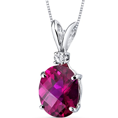 (14 Karat White Gold Oval Shape 3.50 Carats Created Ruby Diamond Pendant)