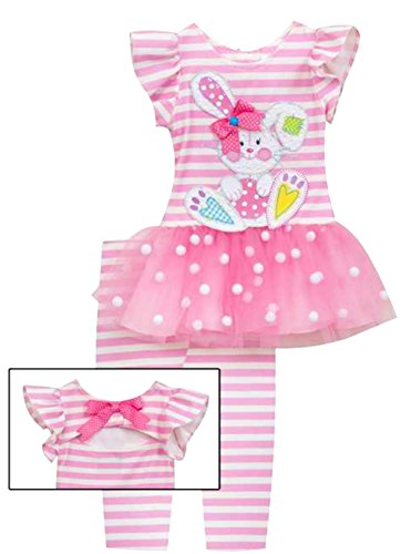 Rare Editions Pink Stripe Bunny Legging Set (Girls Ruffled Tunic)