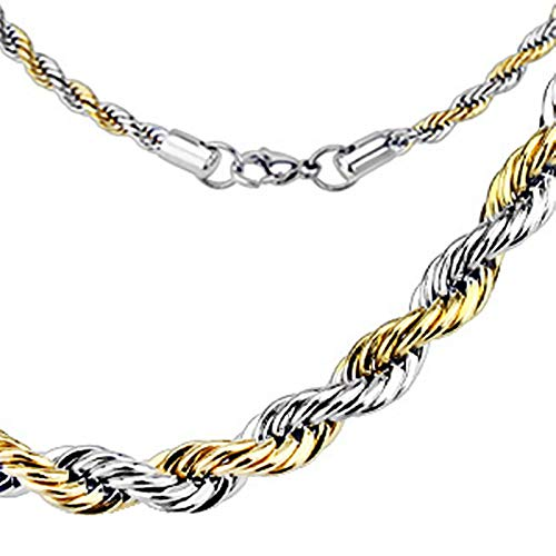 Fantasy Forge Jewelry Rope Chain Necklace Two Tone Gold Silver Surgical Stainless Steel Womens Mens 3mm 22 Inch