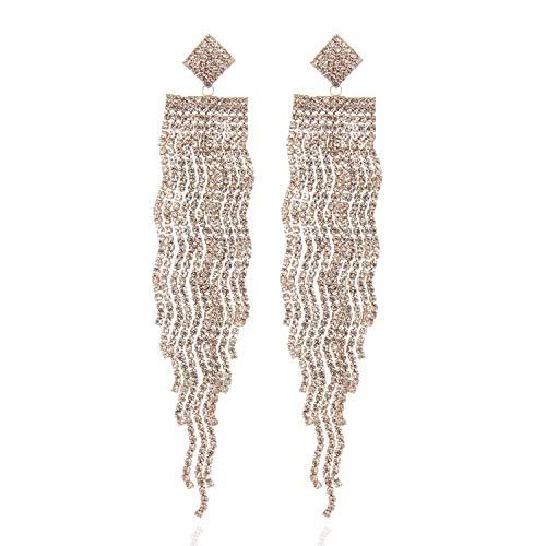 Diamond Bar Wavy Cascade Rhinestone Embellished Post Dangle Earrings in Rose Gold