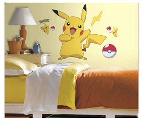 PIKACHU-wall-stickers-Pokemon-MURAL-12-decals-room-decor-Pokeball-28x29-by-Unbranded