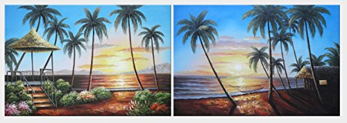 Oil Painting 24''x72'' Hawaii Beach with Palm Trees on Sunset - 2 Canvas Set Seascape America Naturalism, BeyondDream Art by BeyondDream