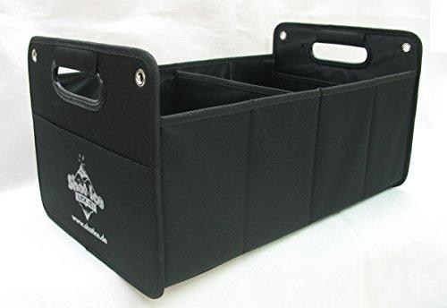 Kofferraumtasche aus Polyester mit stabilem Boden (schwarz inkl. Druck Shot Ice) - Klappbox Kofferraumbox Faltbox Organizer Autobox Tasche Auto Kofferraum Zubehör CB Präsentwerbung GmbH