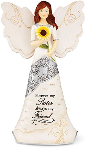 Sister Angel Figurine (Elements Sister Angel Figurine by Pavilion, 6-1/2-Inch, Holding Sunflower, Inscription Forever My Sister Always My Friend)