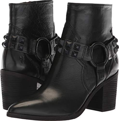 (FRYE Women's Flynn Deco Stud Harness Short Ankle Boot, Black, 7.5 M US)