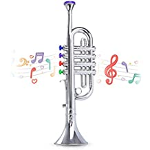 Metallic Silver Kids Trumpet – Horn Wind Instrument with 4 Colored Keys – Ideal for Toddlers and Young Kids – Lightweight & Smooth Operation – Perfect Learning – Ideal For Birthday & Christmas