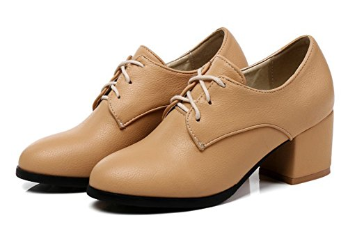 Aisun Womens Simple Round Toe Dressy Wear To Work Office Mid Block Heel Lace Up Pumps Shoes Apricot 0EKsiKXr