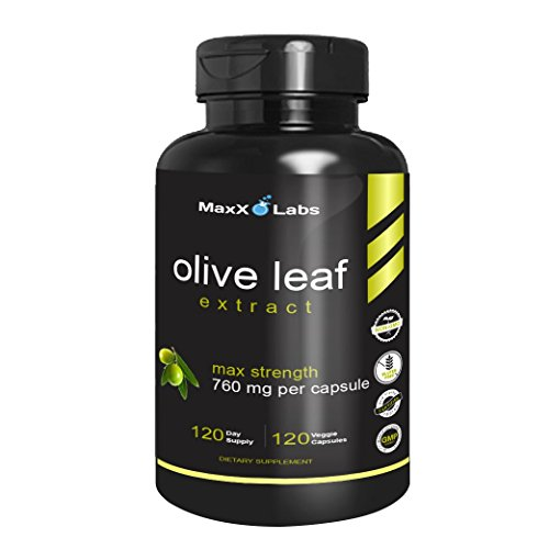 Olive Leaf Extract 120 Caps (Best Olive Leaf Extract 750mg/120 Capsules - Super Strength Oleuropein Nature's Way to Support Immune System, Blood Pressure & Cardiovascular Health - Premium OLE Antioxidant Supplement Pills)