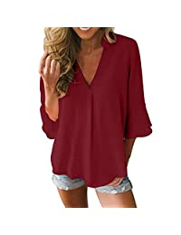 kingf Womens Casual Loose Blouse Solid V Neck Peplum Sleeve Chiffon Shirt Tops