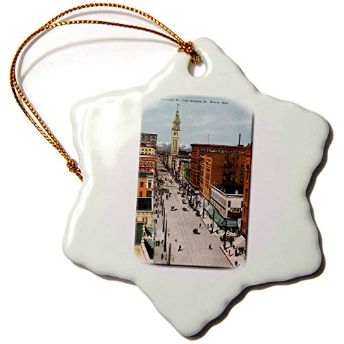 3dRose orn_160732_1 Sixteenth St Denver Colorado as Seen From Glenarm Street City Scape Porcelain Snowflake Ornament, ()