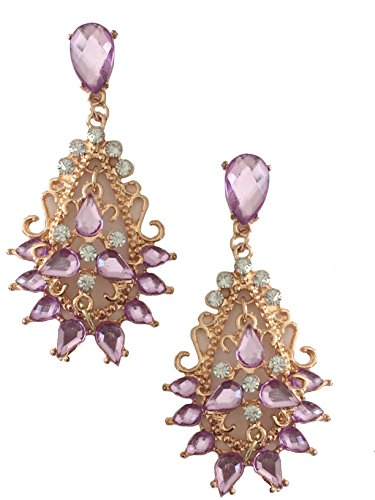 Rose Gold Tone Antique Vintage Style Pink Lavender Topaz Rhinestone Chandelier Long Statement Earrings -