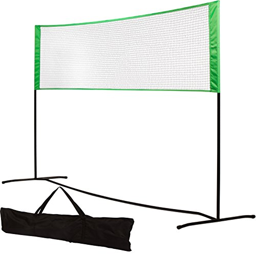 9.6' Volleyball Net Sturdy Polyester Mesh with Carrying Case by Trademark Innovations (Green)